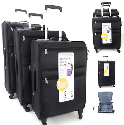 Set 3 Feather Lightweight Trolley Case 4 Wheel Spinner Travel Luggage Suitcase