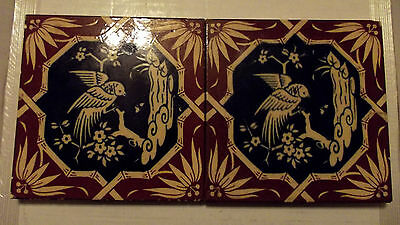 """Antique 1800's Mintons China Works Stoke on Trent 6"""" Glazed Tiles (2) 5/8"""" thick"""