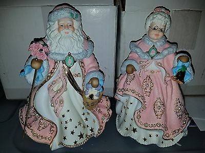 Danbury Mint The Victorian Christmas Muscial Santa & Mrs Claus pink gold