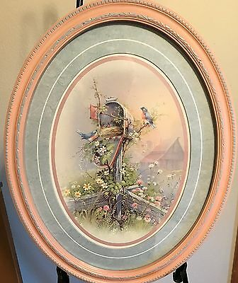 Homco Home Interiors Picture Oval Frame Pink Blue Mailbox Blue Birds Nest 19 ""