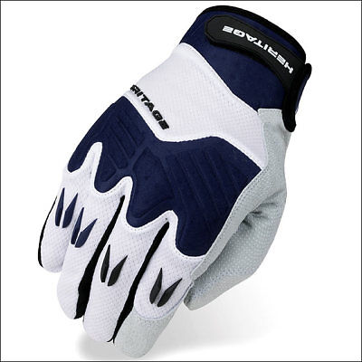 12 Size Heritage Polo Pro Horse Riding Equestrian Padded Glove White/navy