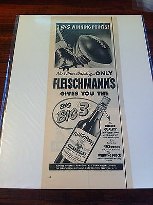 Vintage 1953 Fleischmann's Whiskey 3 Big Winning Points Football Print ad