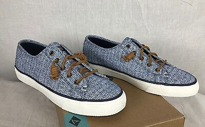 New Sperry Seacoast Sneakers Womens Diamond Navy Shoes 7-11 Sts99022 Free Ship