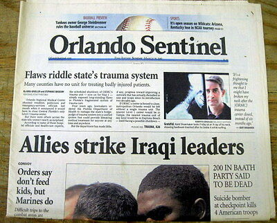 3 2003 hdln newspapers IRAQ WAR BEGINS as US invades to OVERTHROW SADDAM HUSSEIN