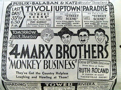1931 Chicago newspaper w illustrated movie ad for MARX BROTHERS  Monkey Business