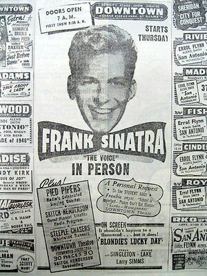 1946 newspaper with AD -Very young FRANK SINATRA appears LIVE at DETROIT THEATRE