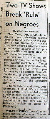 1955 newspaper Network Television practice Discrimination w African-Americans