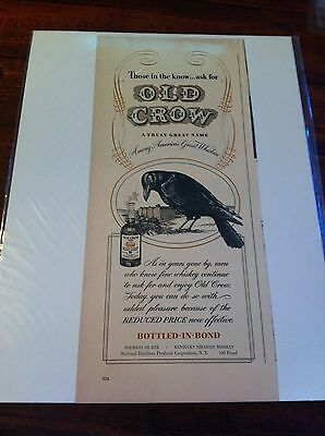 Vintage 1940 Old Crow Whiskey Reduced Price Print ad