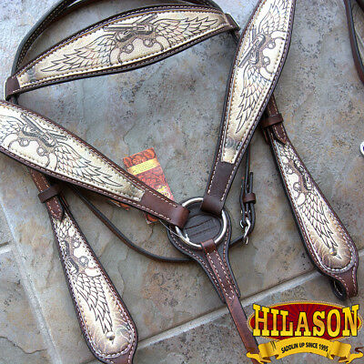 Hilason Western Leather Horse Headstall Breast Collar Cross Gun Angel Wings