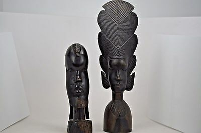 Genuine Besmo From Kenya Hand Carved Wooden Bust set of Two