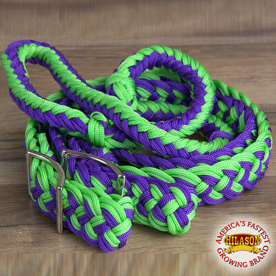 "HILASON BRAIDED POLY BARREL RACING CONTEST REINS FLAT 1"" X 8FT Green/Purple"