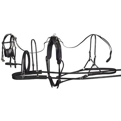 Tough 1 Small Tracker Leather Pony Harness W/ Blinder Bridle Breastcollar Black