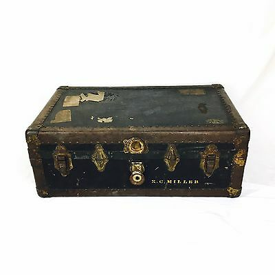 "Vtg Antique Steamer Trunk 32 X 20"" Wooden Foot Locker Metal Coffee Table Large"