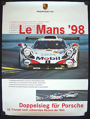 Porsche 993 911 Official Gt1 Le Mans Showroom Victory Poster 1998 Rare