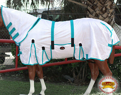 "81"" Hilason Uv Protect Mesh Horse Fly Sheet With Neck Cover & Belly Wrap White"