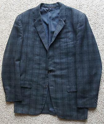 Vintage 50's 60's Gray Shadow Plaid 3 Roll 2 Sport Coat Blazer Atomic Mad Men 42