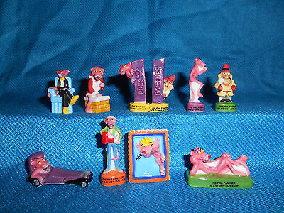 PINK PANTHER Set of 10 Miniature Figures FRENCH PORCELAIN FEVES Mini Figurines