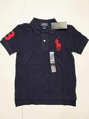 New tag NWT Boys Ralph Lauren Navy Blue Short Sleeve Polo Shirt M L XL Big Pony