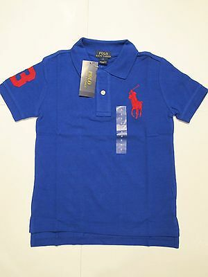 New with tag NWT Boys Ralph Lauren Blue Short Sleeve Polo Shirt M L XL Big Pony