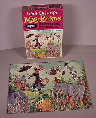 Vintage Mary Poppins puzzle Walt Disney toy in orig. box 10x14 complete 1964