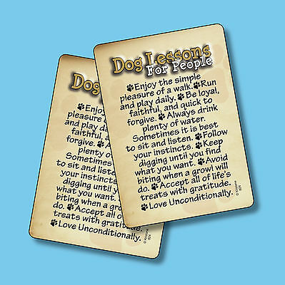 """Dog Lessons For People"" - Inspirational Dog Quote - 2 Verse Cards - sku# 824"