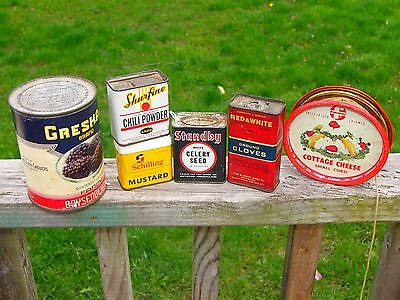 Antique Tin Spice Can Cottage Cheese Lid Vintage Lot