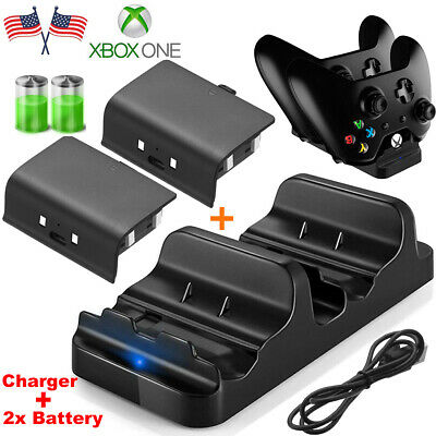 XBOX ONE Dual Charging Dock Station Controller Charger W/ 2 Extra Battery Packs