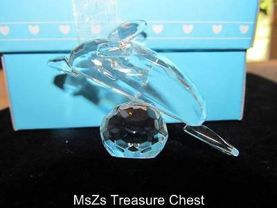 Crystal Glass Figurine of a Dolphin on a Prism Ball   * New In Decorative Box *