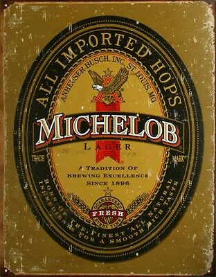 Michelob Lager Beer Logo All Imported Hops Tin Sign 13 x 16in