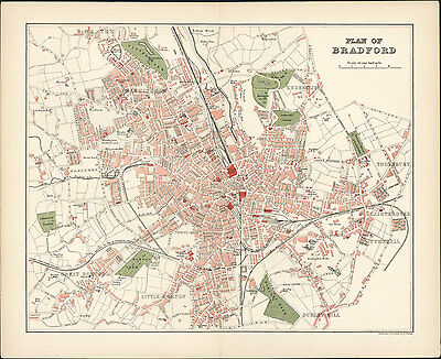 1893 Walker Antique Lithograph Map of The Yorkshire Town of Bradford