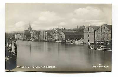 Trondheim - Brygger ved Nidelven - old Norway real photo postcard
