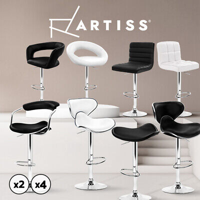 4x Bar Stool Dining Chair Swivel Barstool Kitchen Leather Gas Lift Black White