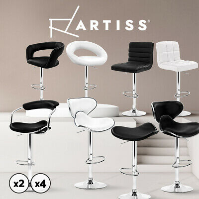 4x Bar Stools Dining Chair Swivel Bar Stool Kitchen Leather Gas Lift Black White