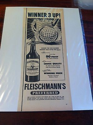 Vintage 1950 Fleischmann's Whiskey Winner 3 Up Golfing Golf Print ad