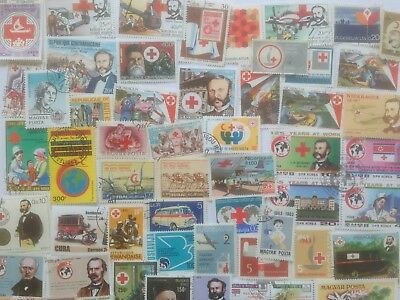 100 Different Red Cross/Red Crescent on Stamps Collection