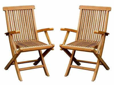 Charles Bentley Pair Of Solid Wooden Teak Garden Outdoor Folding Arm Chairs