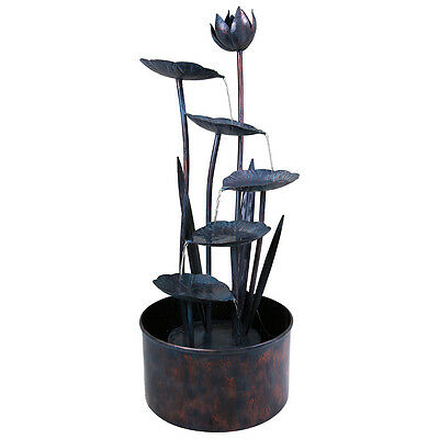Charles Bentley Lotus Flower Outdoor Water Feature Stainless Steel Fountain