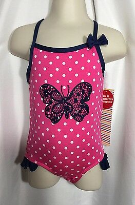 Wippette Swim Swimsuit Size 2T Toddler Girls Hot Pink And Navy One Piece $26Val
