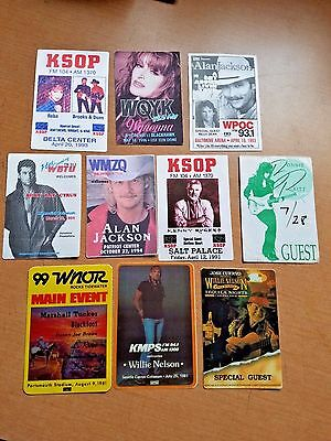 COUNTRY MUSIC concert tour pass / sticker lot : Willie Nelson, Billy Ray Cyrus,+