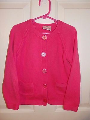 Hanna Andersson Girls Pink Long Sleeve Button Front Sweater Size 110 5-6-6X