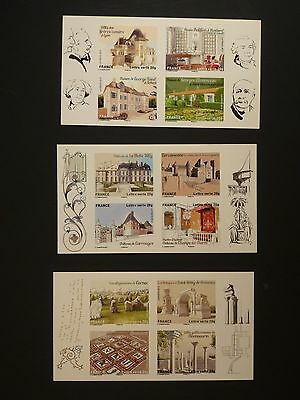 France - 2013 Monuments Set Of 3 Booklets Face Value €8.76  (Ref.a1-1)