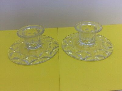 Pair Of Stuart Crystal Candle Holders