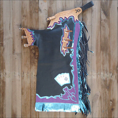 Ch226V1 Hilason Bull Riding Soft Smooth Leather Rodeo Western Chaps