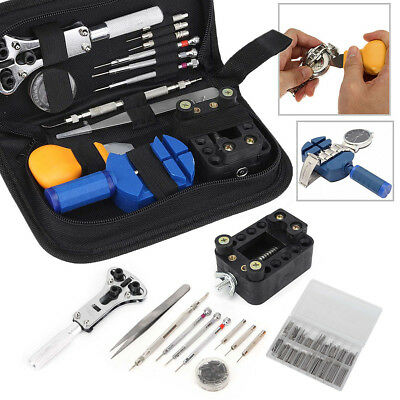 399Pcs Watch Repair Tool Kit Watchmaker Back Case Remover Opener Pin Spring Bar