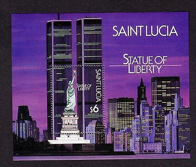 St. Lucia  Scott# 884 Mnh Statue Of Liberty Souvenir Sheet