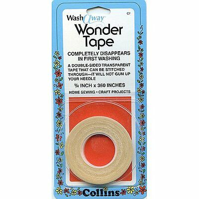 "Collins Wash Away Wonder Tape Double Side Basting Tape 1/4"" x 10 Yards (6mm x 9m"