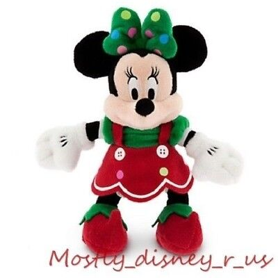 """NEW Disney Store Exclusive Minnie Mouse Elf Holiday Christmas Plush Doll 9"""""""