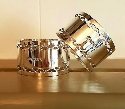 YoreVintage - Silver Plated Antique Napkin Rings Boxed 1920s 1930s