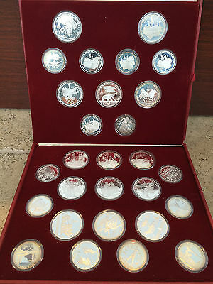 USSR 1980 Set 28 Silver Proof Coins 10 5 Roubles Moscow Olympics RUSSIA with ...