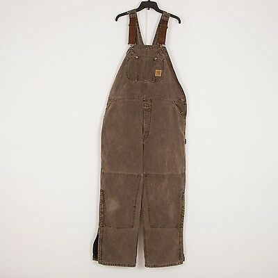 CARHARTT Mens Heavy Cotton Workwear Bib Overall Size 2XL Brown Insulated